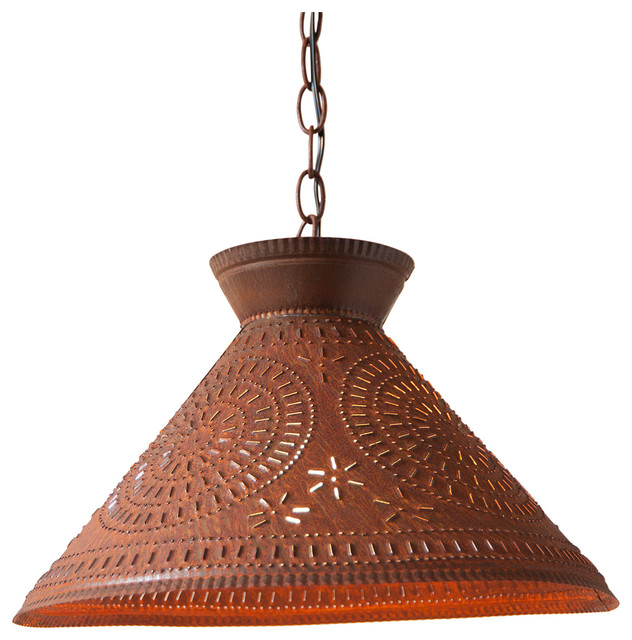 Roosevelt Shade Light With Chisel, Brownic Punched Tin.