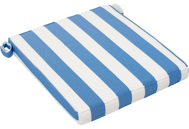 Nautical Outdoor Chair Seat Cushion Blue And White, Set Of 2 Beach Style