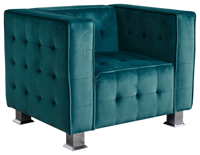 Bunta Tufted Modern Deco New Velvet Armchair, Dark Teal.