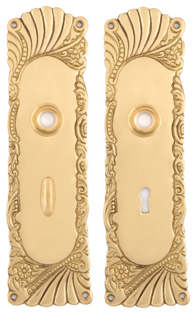 Roanoke Privacy (Turn) Back Plates, Unlacquered Brass
