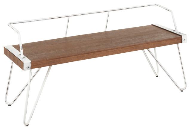 LumiSource Stefani Bench, Vintage White Metal/Brown Wood-pressed Grain Bamboo