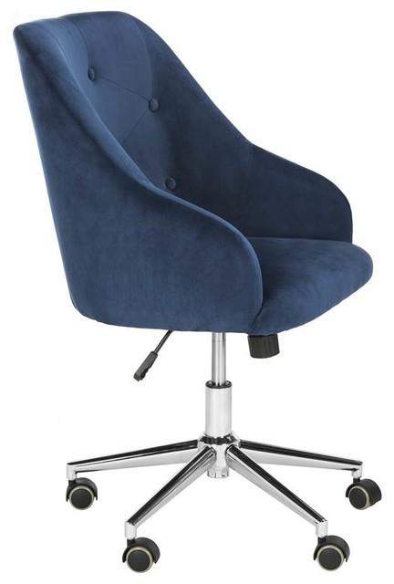 Fantastic Safavieh Evelynn Tufted Velvet Chrome Leg Swivel Office Chair Navy Ocoug Best Dining Table And Chair Ideas Images Ocougorg