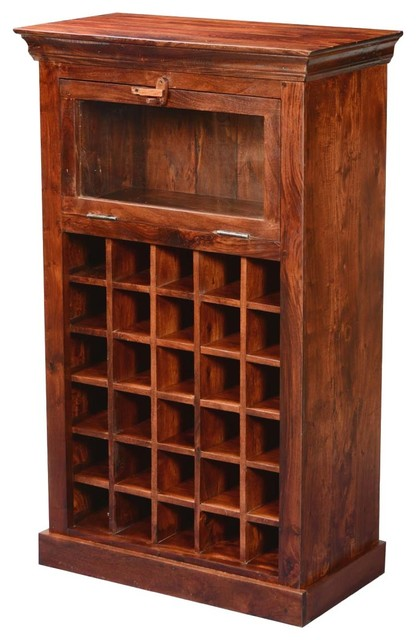 Colonial Rustic Solid Wood Wine Bar Rack Cabinet