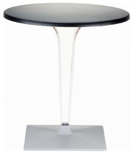 Ice Werzalit Top Round Dining Table With Transparent Base, Black  Contemporary Dining Tables