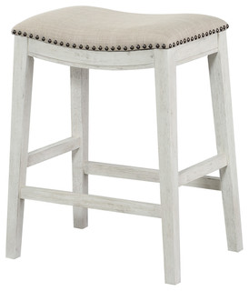 "Saddle Stool 24"", Set of 2, Beige Fabric and Antique White Base"