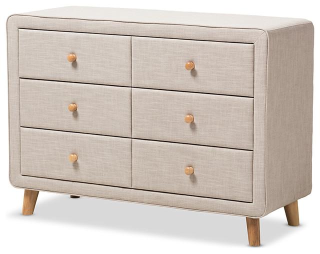 Jonesy Beige Linen Upholstered 6-Drawer Dresser, Beige.