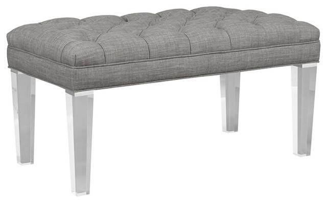 Kendall Acrylic Leg Bench, Silver.