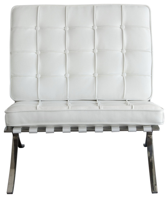 Cordoba Tufted Chair w/ Stainless Steel Frame by Diamond Sofa - White by Diamond Sofa