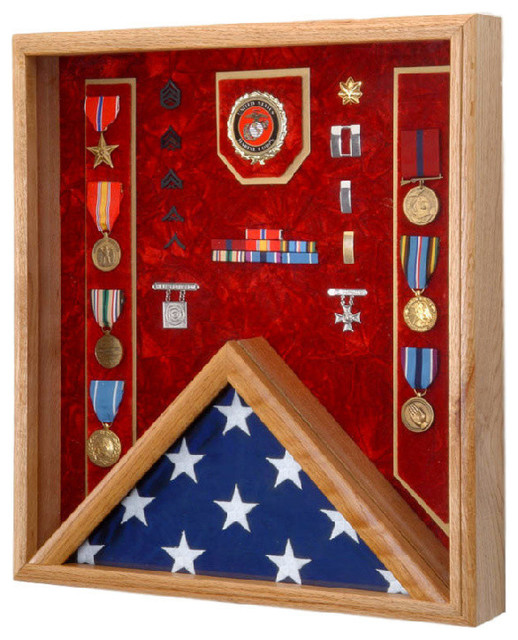 18 Quot X 20 Quot Solid Oak Military Flag Award And Medal Display