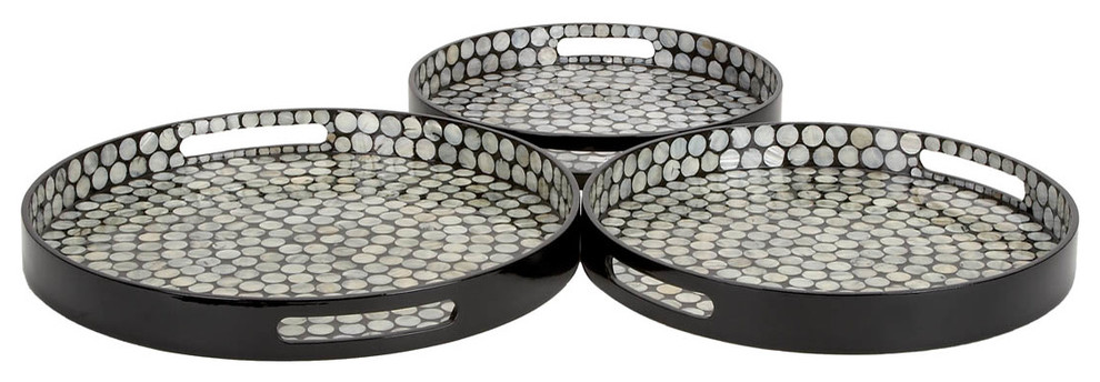 Set Of 3 Round Serving Trays Black Wood Silver Inlay Home Kitchen Decor 48923 Contemporary By Gwg Outlet Houzz