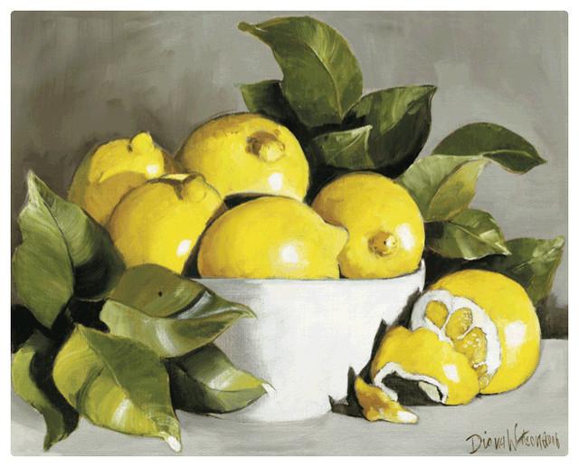 Magic Slice Non-Slip Flexible Cutting Board, Lemons in a Bowl by Diana Watson