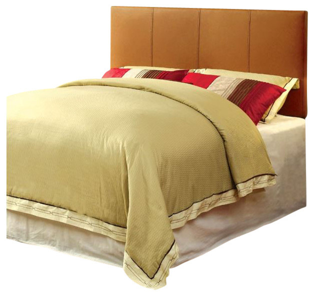 Wall Mountable Padded Leatherette Headboard, Camel, Full/Queen