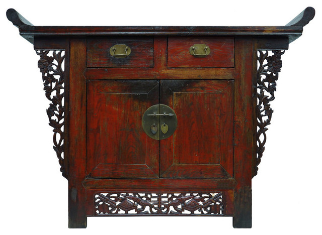 Consigned antique chinese shan xi altar cabinet console for Asian console cabinet
