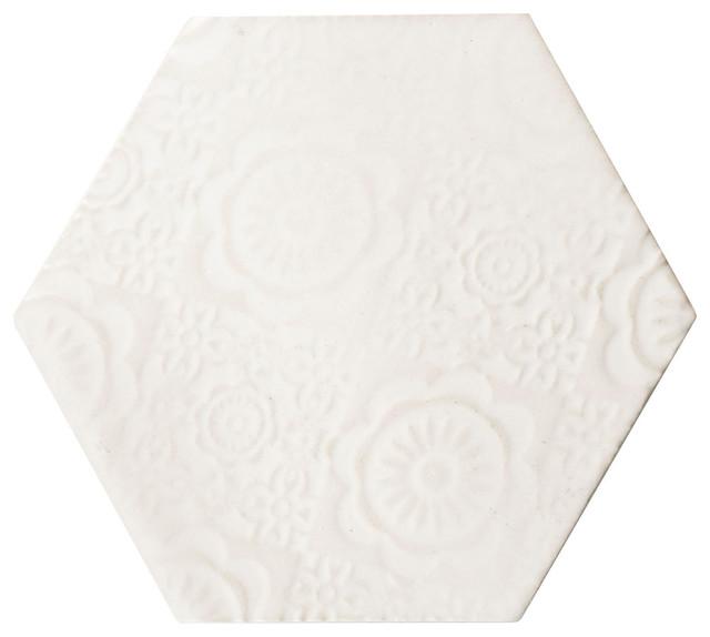 "4""x5"" Capri Porcelain Wall Tiles, Set Of 36, White."