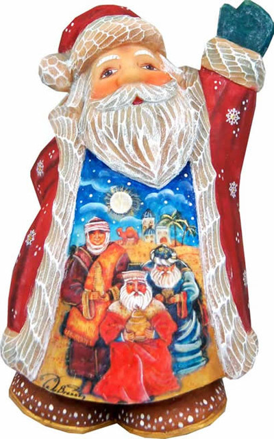 Artistic Wood Carved Santa Claus Three Kings Nativity Sculpture.