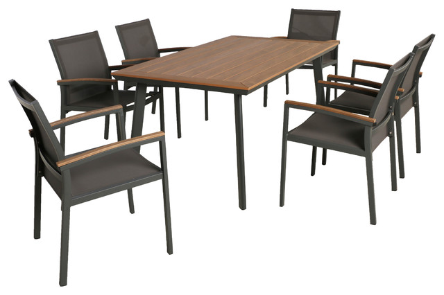 Simon Outdoor 7-Piece Aluminum And Mesh Dining Set With Wood Top, Natural, Gray.