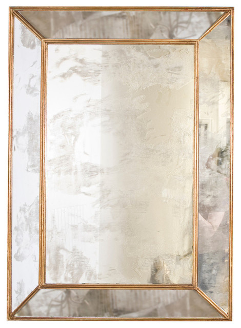 Rectangle Antique-Style Mirror, Gold.