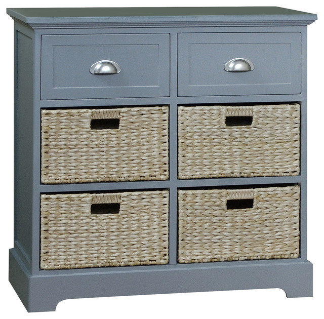 Newport Two Drawer Four Basket Table - Beach Style - Accent Chests And Cabinets - by Gallerie Decor