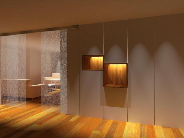 Hall y pasillo, armario con hornacinas contemporaneo-recibidor-y-pasillo