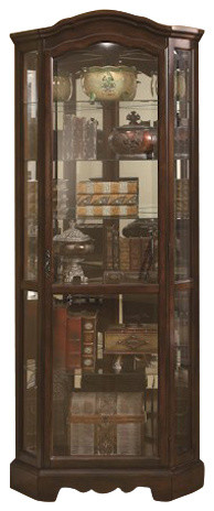 Shop Houzz | Coaster Fine Furniture 5 Shelf Corner Curio Cabinet With Shaped Crown and Base ...