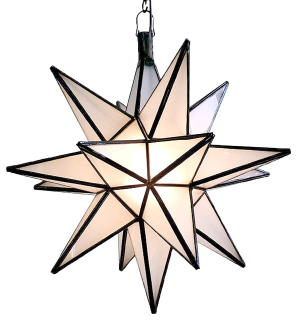 Moroccan Star Lantern, Frosted.