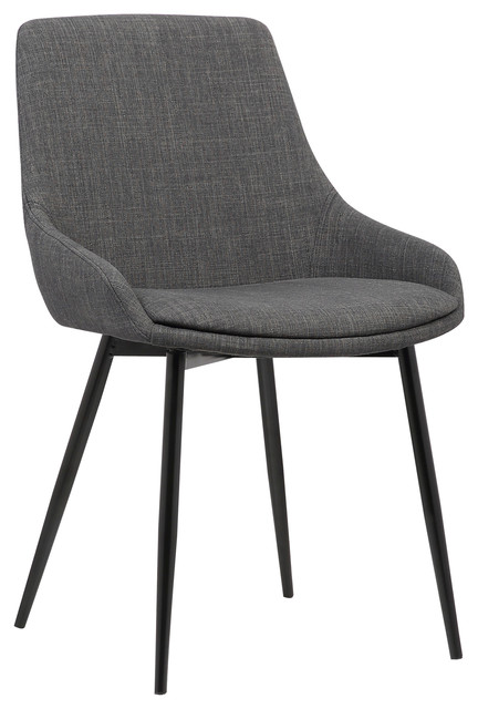 Mia Contemporary Dining Chair With Black Powder Coated Metal Legs, Charcoal  Midcentury Dining