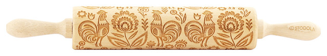"""Folk Pattern With Rooster, Engraved Rolling Pin For Embossed Cookies, 16.9""""."""