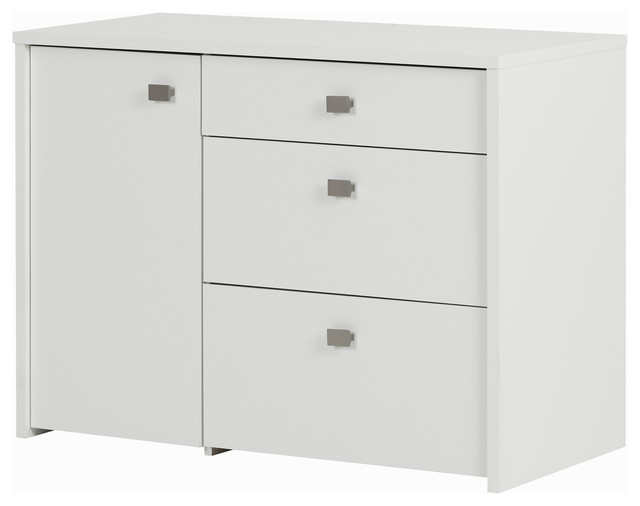 South Shore Interface Storage Unit With File Drawer, Pure White Contemporary  Filing Cabinets
