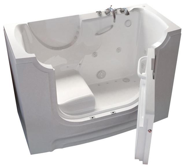 Meditub 30x60 Right Drain Whirlpool And Air Jetted Wheelchair Accessible Bathtub.