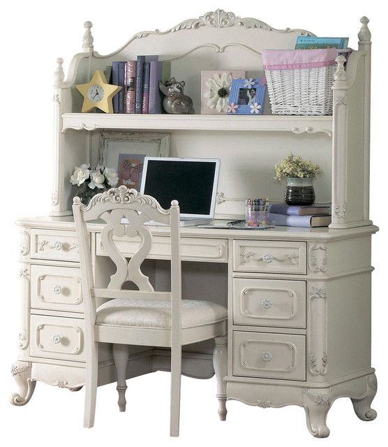 homelegance cinderella writing hutch desk in white traditional rh houzz com white desk hutch set white hutch desk ikea
