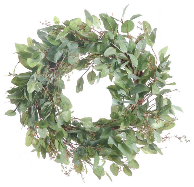 Artificial Eucalyptus Leaf Wreath Modern Wreaths And