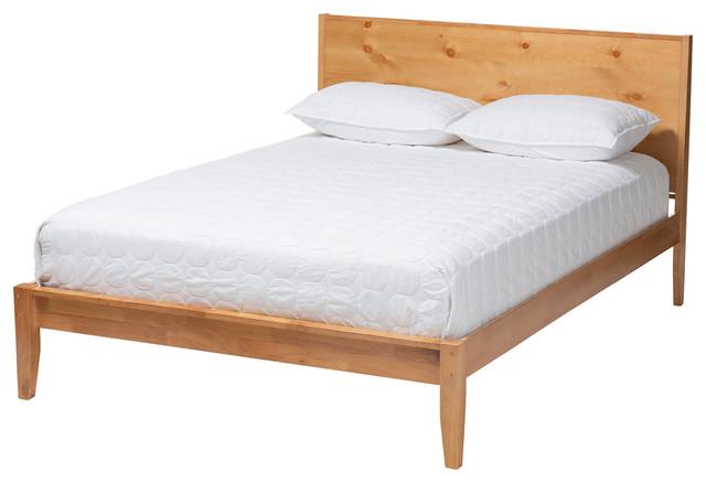 Marana Natural Oak And Pine Wood Platform Bed Transitional