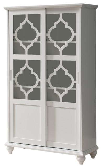 Charmant Callum Wood Curio Bookcase With Sliding Glass Doors, White