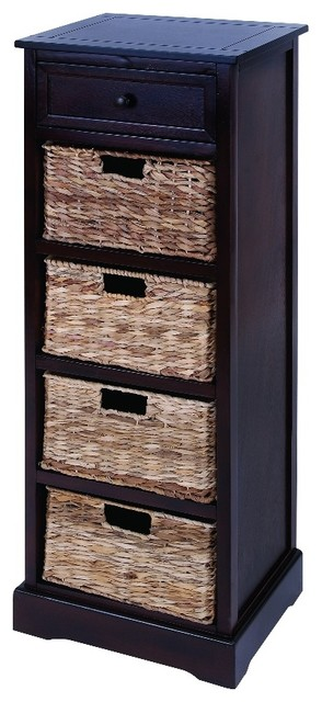 Vertical Wood Cabinet With 4 Wicker Baskets Transitional