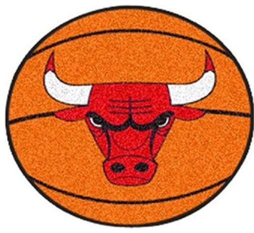 NBA Chicago Bulls Rug Basketball Shaped Contemporary Novelty Rugs