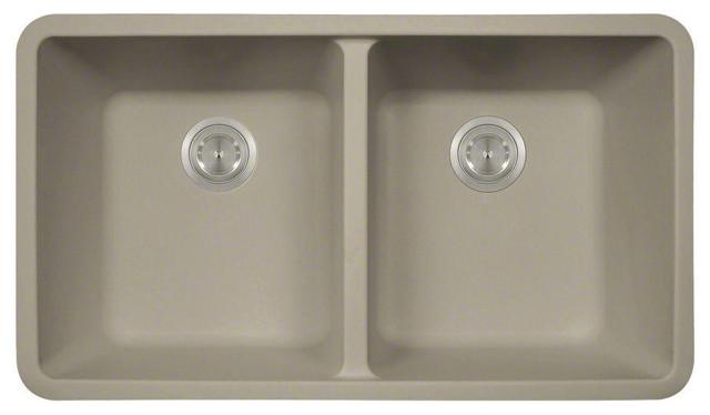 Polaris Sinks P208st White Double Equal Bowl Astragranite Kitchen Sink.