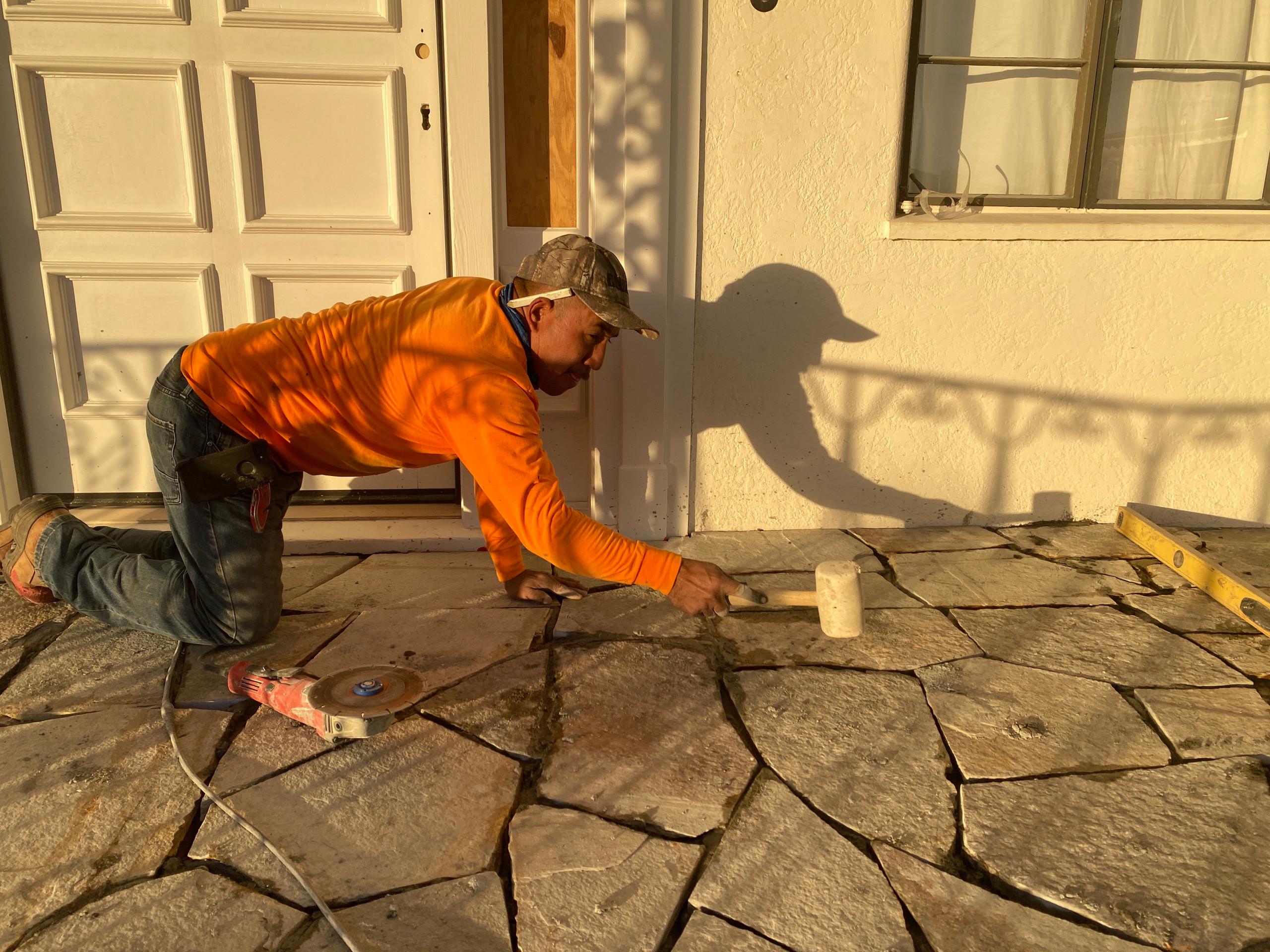 Flagstone Porch Installation