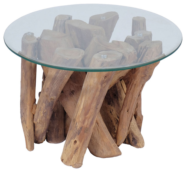 vidaXL Coffee Table With Solid Teak, 60 cm