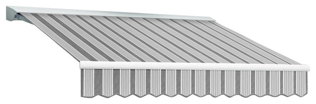 """8&x27; Destin-Lx Manual Retractable Awning, 84"""" Projection, Gun And Gray."""