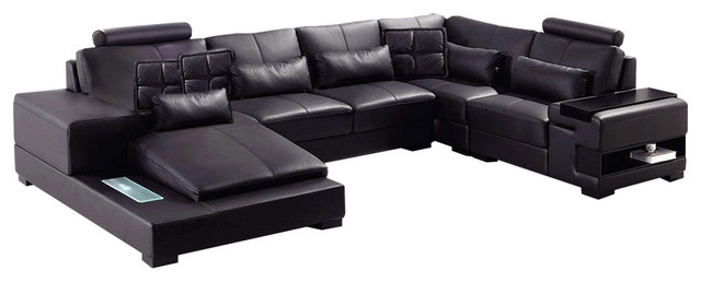 Soflex Philadelphia Ultra Modern Black Faux Leather Sectional Sofa Left  Chaise