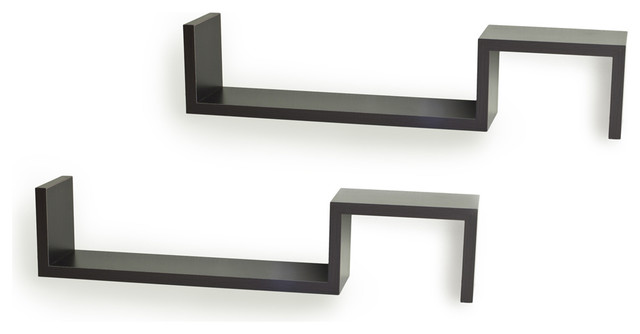 """Wall Hanging Shelves s"""" wall mount shelves (set of 2) - contemporary - display and wall"""