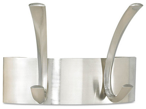 Metal Coat Rack, Steel, Wall Rack, 2-Hooks, Silver, 7x4-1/2x5-1/4.
