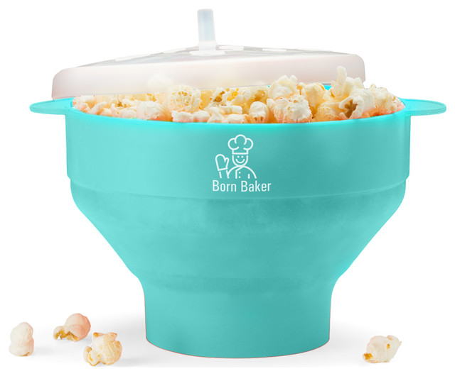 Born Baker Collapsible Silicone Microwave Popcorn Popper, Turquoise.