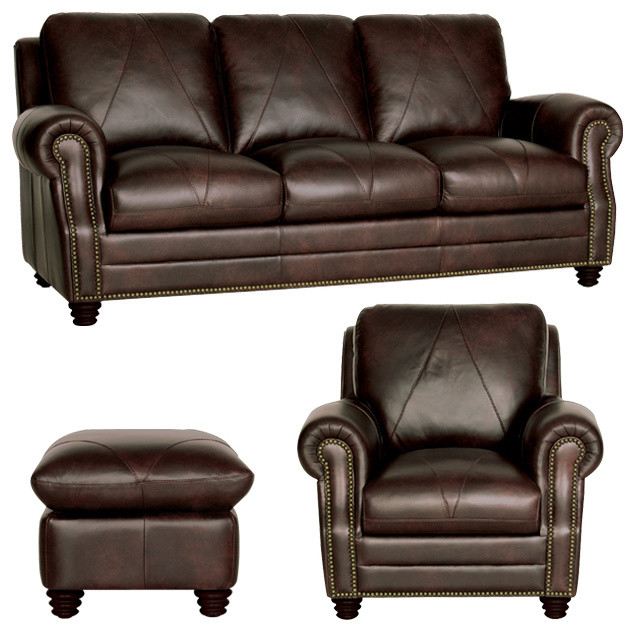 Traditional Living Room Leather Furniture: Genuine Italian Leather Sofa, Chair And Ottoman In