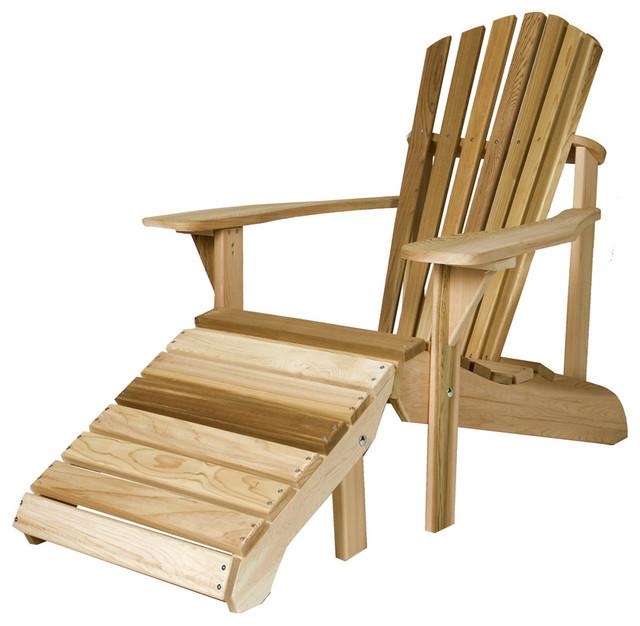Cedar Adirondack Chair With Ottoman