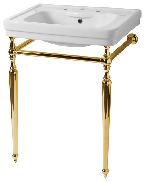 Sbordoni Rounded Metal Stand Washbasin, 28x21, Brass, 3 Tap Holes.