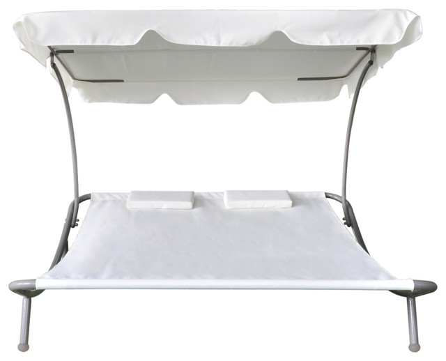 Outdoor Double Sun Bed With Canopy And 2 Pillows Cream White.