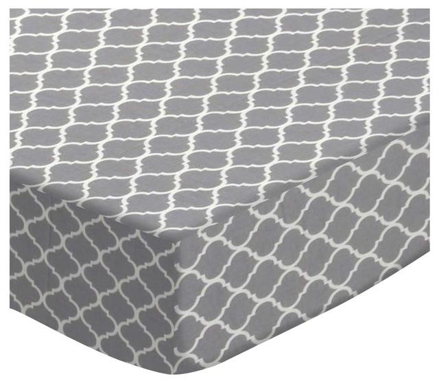 SheetWorld Fitted Oval Crib Sheet Stokke Sleepi, Gray Quatrefoil