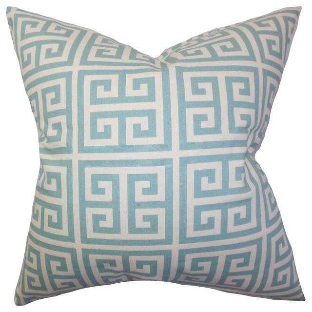 The Pillow Collection - Paros Greek Key Pillow Blue & Reviews Houzz