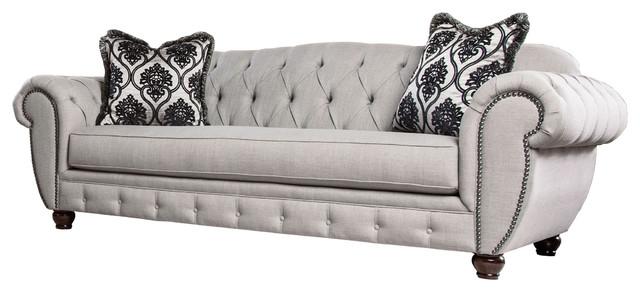 Gisela Sofa, Gray Fabric Contemporary Sofas